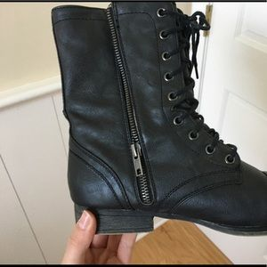 Madden Girl Black Combat Boots